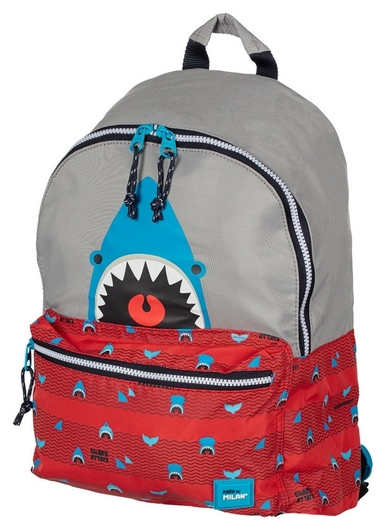 Рюкзак школьный Milan Shark Attack красно-серый, 41х30х18 см,624605srt  Milan