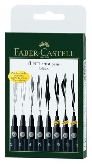 Набор капиллярных ручек Faber-castell Pitt Artist Pen черные, 8шт., 167137  Faber-castell