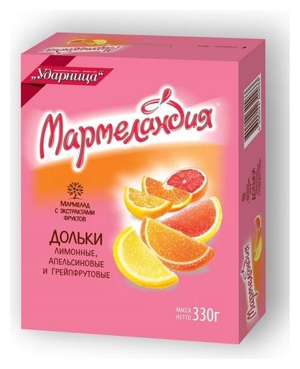 Мармелад мармеландия апел. лим. грейп. дольки ударница, 330г  Ударница