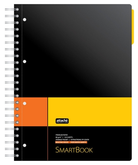 Бизнес-тетрадь Smartbook А4 120л. клетка,спир,микроп,разд,карм,жел-оран  Attache