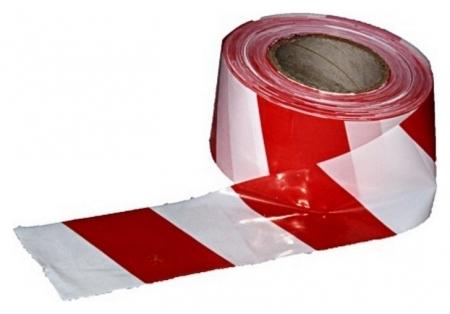 Лента оградительная красно-белая 75мм х100м  NNB