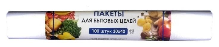 Пакет фасовочный ПНД 30х40см 8 мкм 100шт./уп.для быт. целей  Знак качества