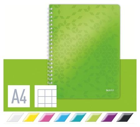 Бизнес-тетрадь Leitz Wow, А4, 80л, полипропилен, кл.,зеленый 46380064/54 Leitz
