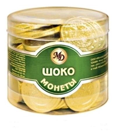 Набор из шоколада монеты в банке 6г/50штмент: рубль 0025  Монетный двор