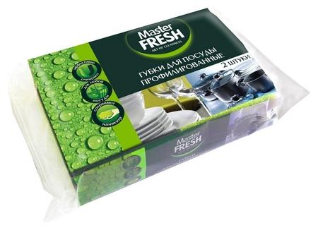 Губки для посуды Master Fresh Black профилированные 2 шт/уп  Master FRESH