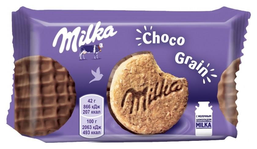 Печенье Milka из цельнозерн.муки с овсян.хлопьями, покр.мол.шок., 24штx42г  Milka