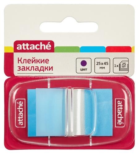 Клейкие закладки пласт. 1цв.по 25л. 25ммх45 син Attache  Attache
