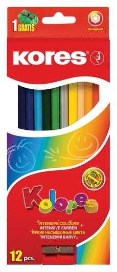 Карандаши цветные 12цв 6-гран,точилка Kores 96312.01  Kores