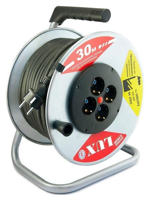 Удлинитель 30 м метал. катушка LUX КГ 3x1.5кв.мм,16а, 4 розетки с з/к44130  Lux