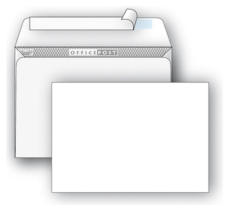 Конверты белый E65 стрип Officepost 110х220 1000шт/кор 1781  OfficePost