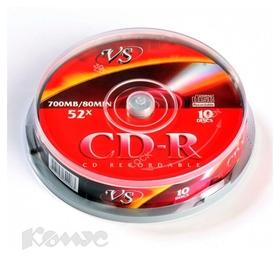 Носители информации Cd-r, 52x, VS, Cake/10, Vscdrcb1001  Vs