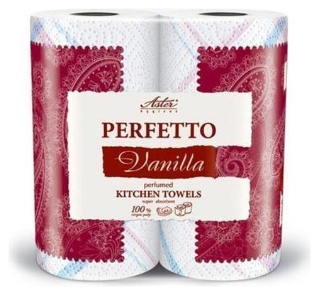 Полотенца бумажные Aster Perfetto 3сл.бел.с рис.аром.2рул./уп.  Aster