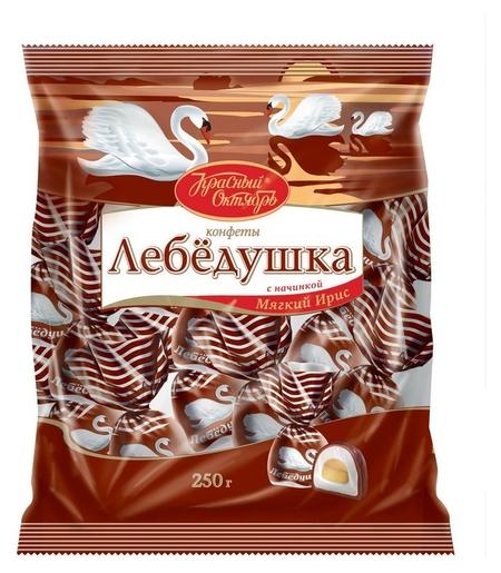 Конфеты лебедушка с начинкой мягкий ирис 250г  Красный октябрь