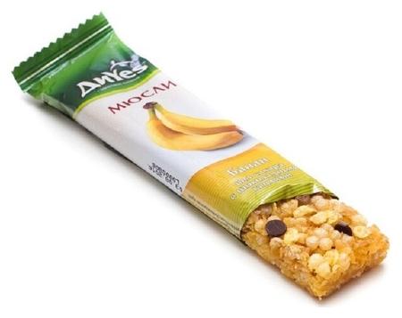 Батончик мюсли диyes банан без сахара с шоколадными каплями 25гр  DiYes