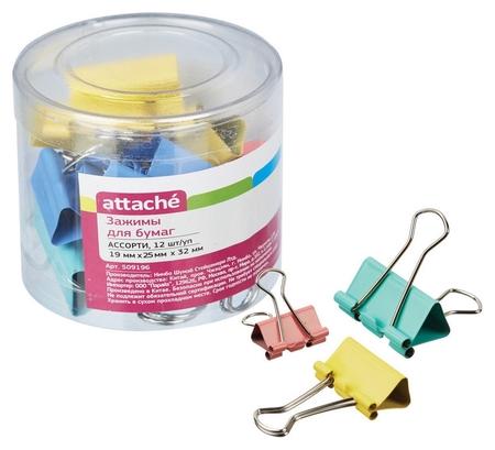 Зажим для бумаг цветные (19мм,25мм,32мм), 12шт/уп Attache,пласт.бок  Attache