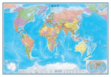 Настенная карта Мир политическая 1:15млн., 2,33х1,58м.  Атлас принт