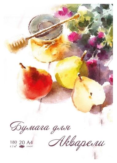 Папка для рисования для акварели №1school А4, 20л, 180 гр/м2 груши  №1 School