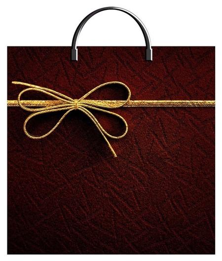 Пакет подарочный пластиковый золотой бантик 36х37см арт.  Тикопластик