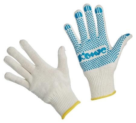 Перчатки защитные трикотажные комус ПВХ точка 5 нитей 52г 10 кл р9 5пар/уп  Комус