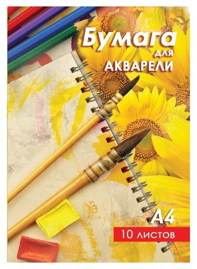 Папка для рисования акварелью А4 10л,160гр. краски/подсолнухи ба-а4002/1 ас  Мировые тетради