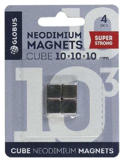 Магнитный держатель неод.для стекл.досок глобус мн10 куб 10х10х10мм 4 шт/уп  Globus
