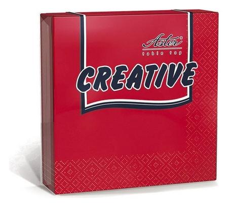 Салфетки Aster Creative 3сл.33х33 красные 20шт./уп.  Aster