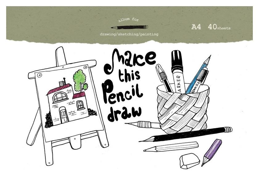 Альбом для рисования №1 School Draw А4 40л, склейка,обл.импорт.картон  №1 School