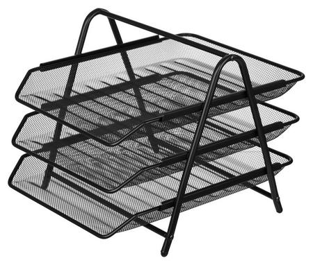 Лоток для бумаг Attache 3х секц. горизонт., металл. сетка, выс.267мм чёрный  Attache
