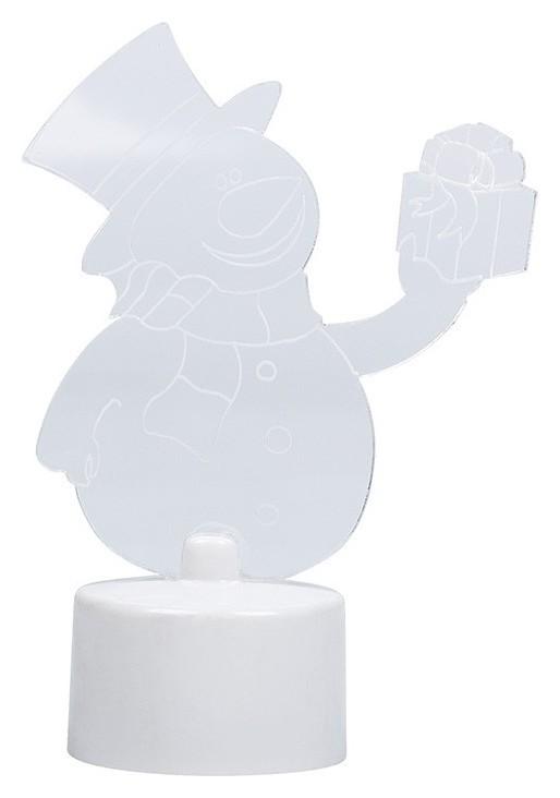 Фигура светодиодная на подставке снеговик с подарком 2D, RGB 501-054  Neon-Night