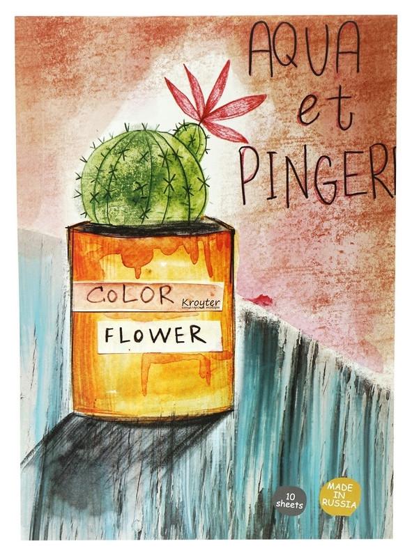 Альбом для рисов.акварелью Kroyter 10л а3,склейка,тв.подл,бл.180г.flower00020 Kroyter