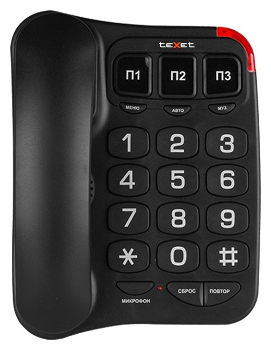 Телефон проводной Texet Tx-214 черный  teXet