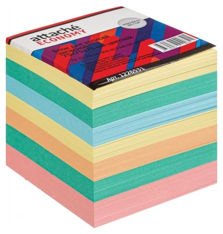 Блок для записей Attache Economy запасной 7,5х7,5х7,5, 5 цветов, 65 г Attache