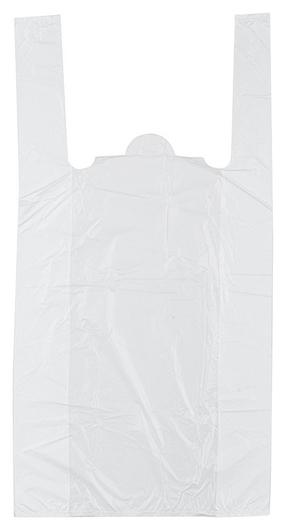 Пакет-майка пакет-майка, пнд, 28+13x57см,белый, 15 мкм, 100 шт/уп  Знак качества