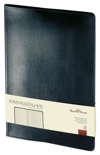 Еженедельник недатированный черный,кожа,a4,64л,br.v.profy 3-098/02  Bruno Visconti