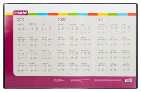 Коврик на стол Attache 59x38см с прозрачным листом календарь на текущий год  Attache