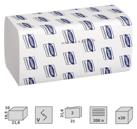Полотенца бумажные для дисп. Luscan Professional Vслож2 слбелвтор200л20пач/уп  Luscan
