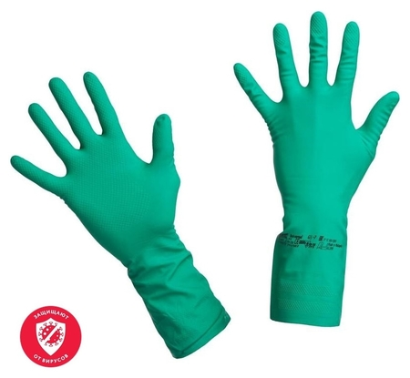 Перчатки резиновые Vileda Profes нитрил хлопков.напыл зеленый р-р S 100800  Vileda