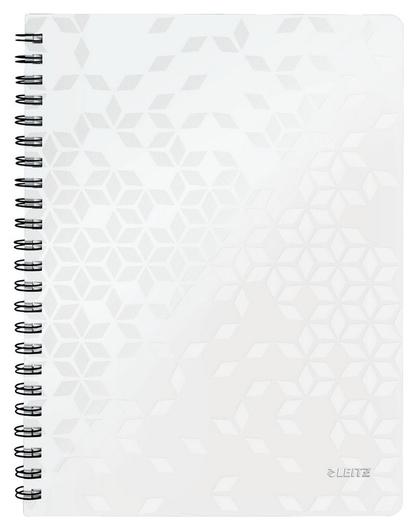 Бизнес-тетрадь Leitz Wow, А4, 80л, полипропилен, кл., белый 46380001  Leitz