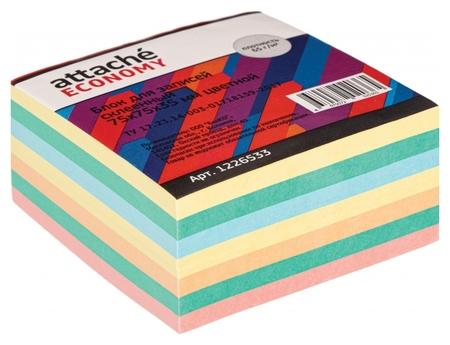 Блок для записей Attache Economy проклеенный 7,5х7,5х3,5, 5 цветов, 65 г  Attache