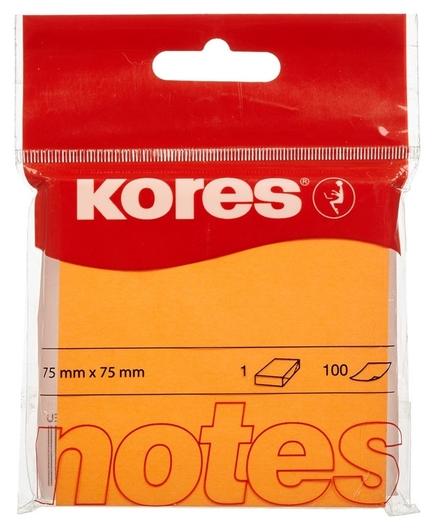 Блок-кубик Kores бум.для зам. 75х75 неоновая оранжевая 100л. ?47074  Kores