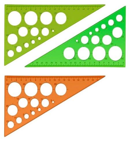 Линейка треугольник с окружностями 19смугол30градпластикneoncristalассорт  Стамм