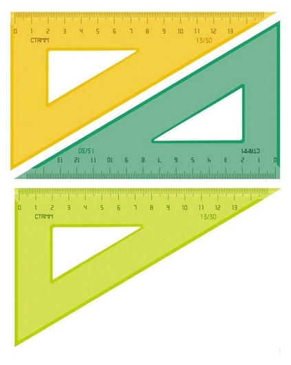 Линейка треугольник 13 см угол 30 градусов Neon Cristalтк-33  Стамм