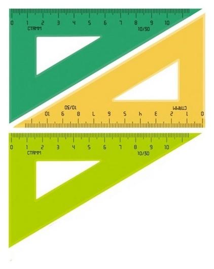 Линейка треугольник  10 см угол 30 градусов пластик тк-23  Стамм