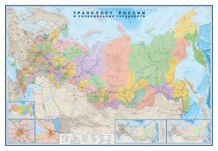 Настенная карта транспорт россии и сопредельных гос-в 1:3,7млн.2,33х1,58м.  Атлас принт