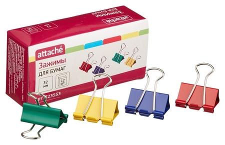 Зажим для бумаг Attache, 32 мм, 12 шт., цветные, в карт.коробке  Attache