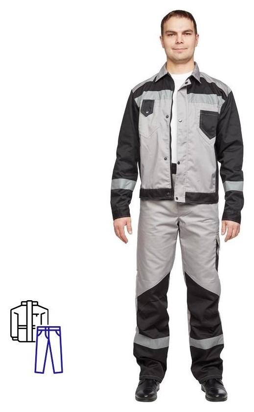 Спец.одежда летняя костюм мужской л21-кбр серый/черн.(Р.64-66) 182-188 NNB