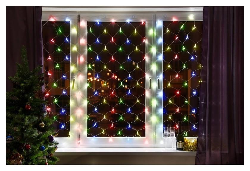 Гирлянда сеть 1,5х1,5м, прозрачный пвх, 150 LED мультиколор 215-129  Neon-Night