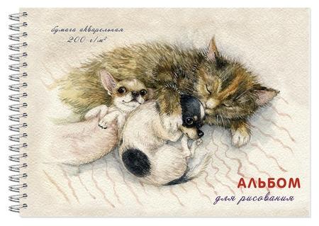 Альбом для рисования акварелью 20л,а4,200гр,греб,подл. спящие дружочки 2914  Полином