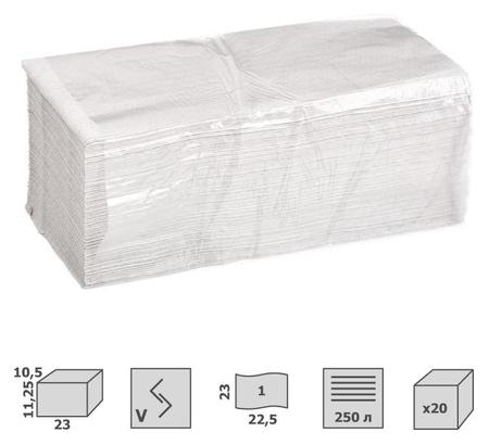 Полотенца бумажные для дисп V-слож 1сл бел вторич 250л 20пач/уп  NNB