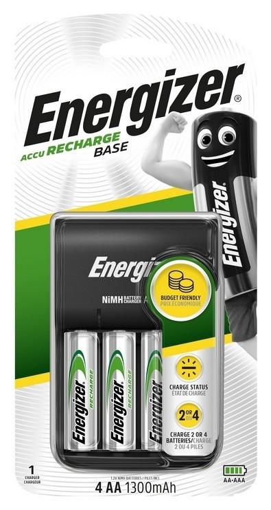 Зарядное устройство Energizer Base: 2/4 слота Aa/aaa, + 4 акк. AA 1300mah  Energizer